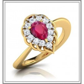 Ruby Encirled with Diamonds in Yellow Gold Ring